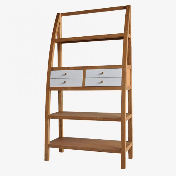Book Rack Triangle 4 Drawers Teckococo Wooden Furniture