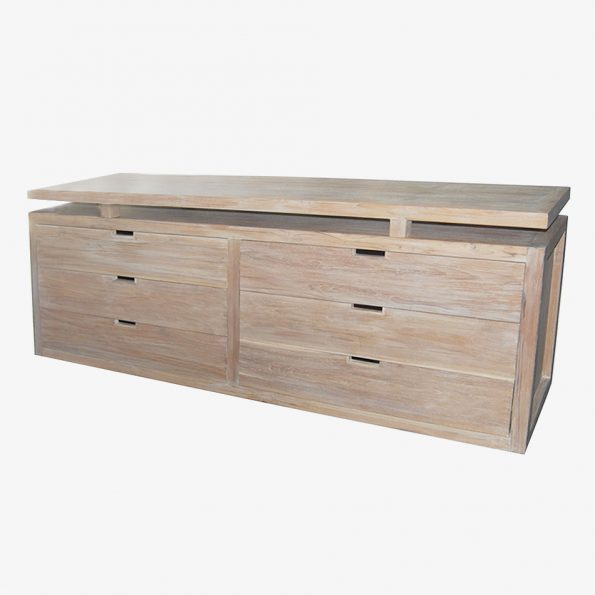 Chest Rattan Flat w/6 Drawers Teckococo Wooden Furniture
